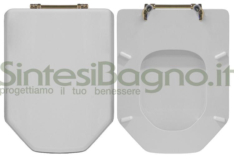 Copriwater IDEAL STANDARD serie ABSOLUTE CLASSIC con cerniere in ottone DORATE